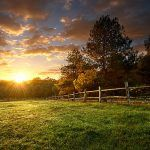 Picturesque landscape fenced ranch at sunrise .